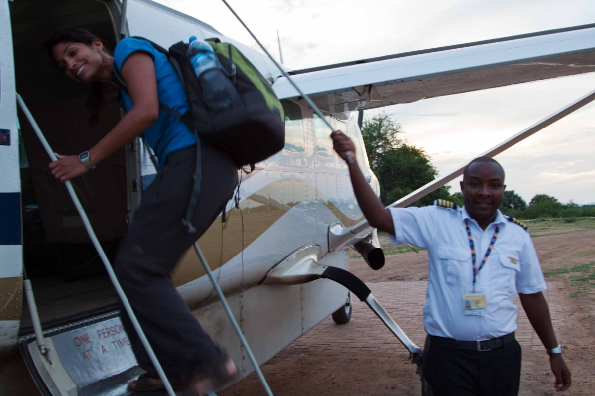 Boarding Cessna Selous Game Reserve