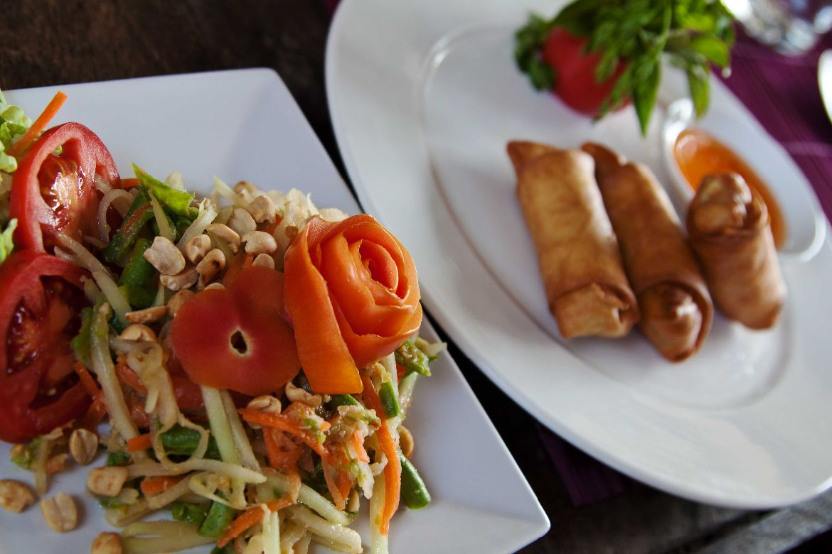 Thai Papaya Salad and Spring Rolls