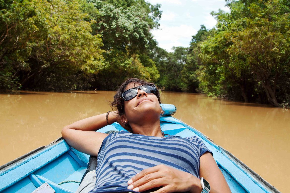 Boat trip on river Borneo